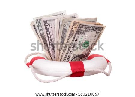 lifebuoy with dollars - stock photo