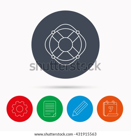 Lifebuoy with rope icon. Lifebelt sos sign. Lifesaver help equipment symbol. Calendar, cogwheel, document file and pencil icons. - stock photo