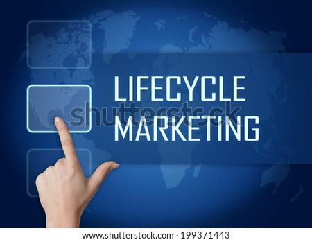 Lifecycle Marketing concept with interface and world map on blue background - stock photo