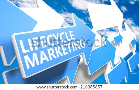 Lifecycle Marketing 3d render concept with blue and white arrows flying in a blue sky with clouds - stock photo
