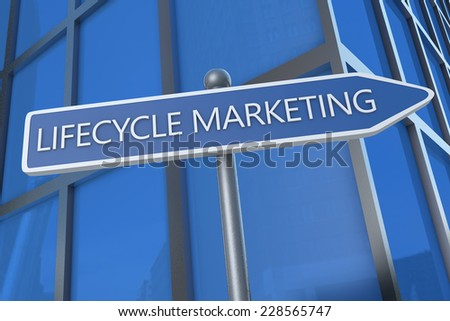 Lifecycle Marketing - illustration with street sign in front of office building. - stock photo