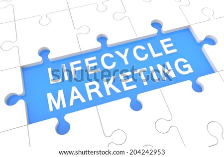 Lifecycle Marketing - puzzle 3d render illustration with word on blue background - stock photo