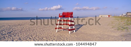 Lifeguard chair at the beach in morning, Cape May, New Jersey - stock photo