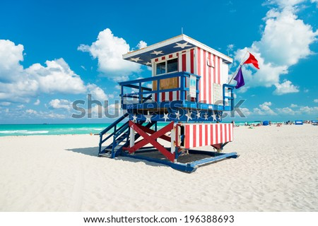 Lifeguard hut in South Beach with an american flag design, Miami - stock photo