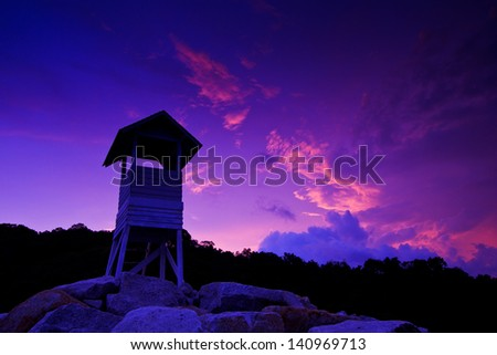 Lifeguard observation tower station and Scenic sea views - stock photo