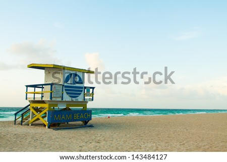 Lifeguard Station in South Beach Miami, Florida - stock photo