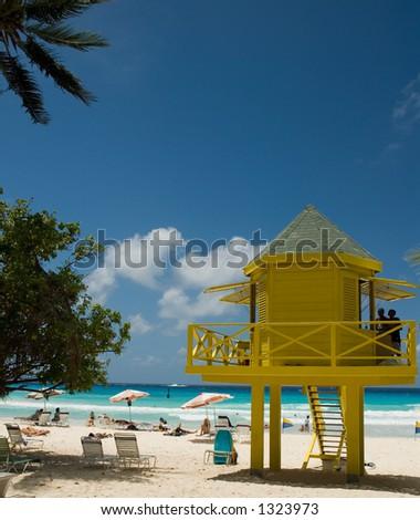 Lifeguard Station On Barbados - stock photo