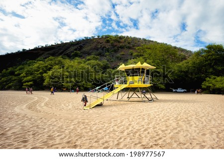 Lifeguard tower at Big Beach (Makena) Maui, Hawaii. - stock photo