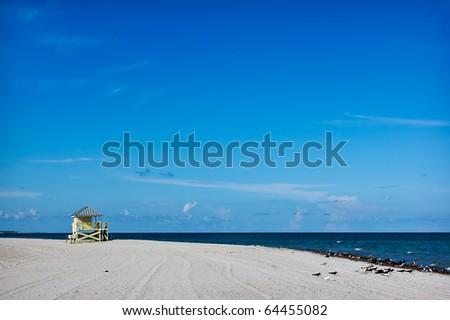 lifeguard tower on the white sand beach, Miami , Florida, USA - stock photo
