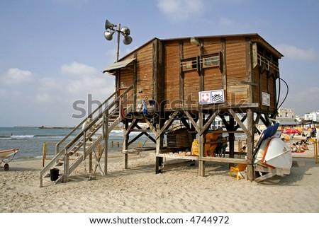 lifeguard watch hut coast tel aviv israel - stock photo