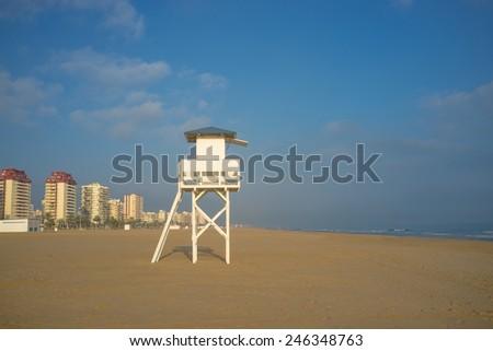 Lifeguard watchtower on Gandia beach, Valencia, Spain - stock photo