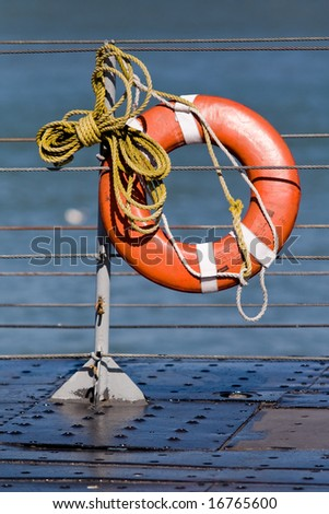 lifeline ready to be thrown into the water - stock photo