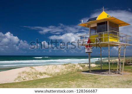 Lifesaver patrol tower on beach, Gold Coast, Queensland, Australia - stock photo