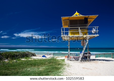 Lifesaver patrol tower on the Gold Coast, Queensland, Australia - stock photo
