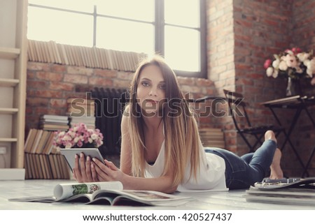 Lifestyle. Lovely woman at home - stock photo