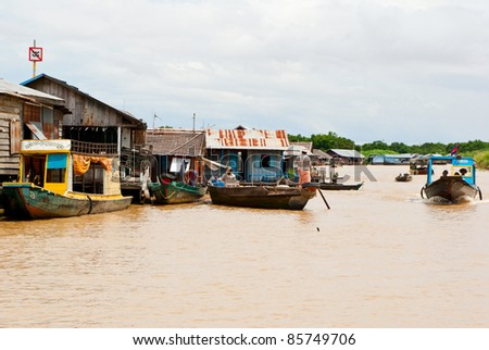 lifestyle of people in tonle sap lake, Cambodia - stock photo