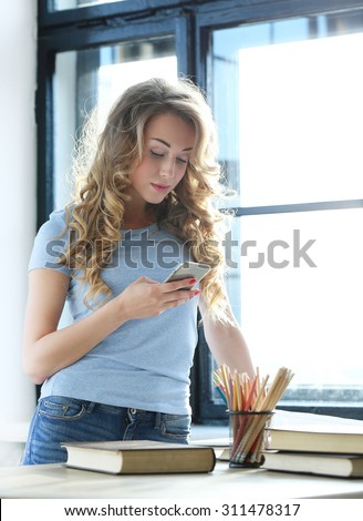 Lifestyle, sunny. Cute girl at home - stock photo