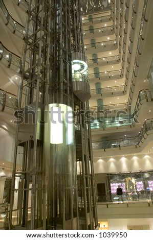 Lift movement in a multi-store building - stock photo