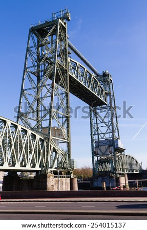 Liftbridge Koningshavenbridge De Hef in Rotterdam, The Netherlands - stock photo