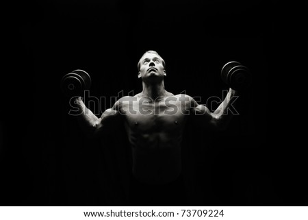 Lifting, low key - stock photo