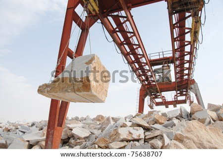 Lifting pulley in a marble quarry - stock photo
