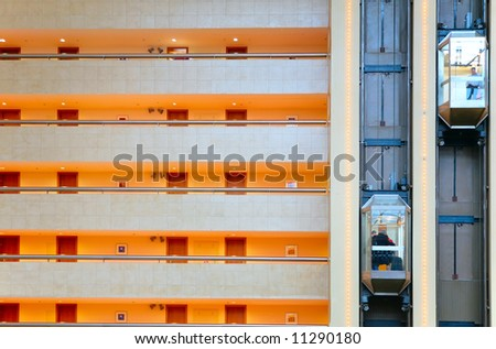 lifts and balconys in trade center - stock photo
