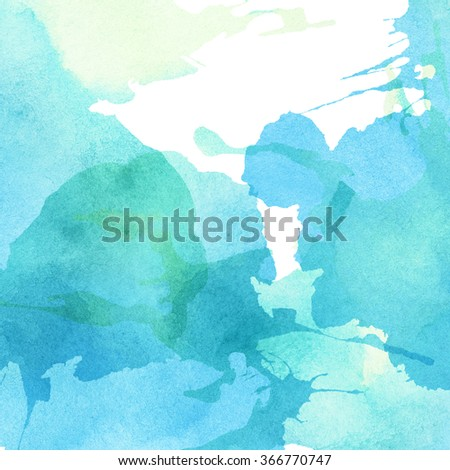 Light abstract blue, green painted watercolor splashes background - stock photo