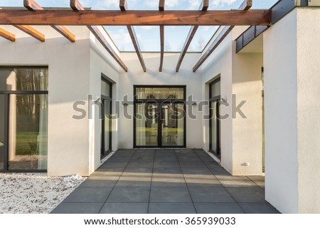 Light and modern front of the house  - stock photo