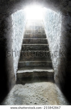 light at the end of the tunnel, tomb, salvation - stock photo