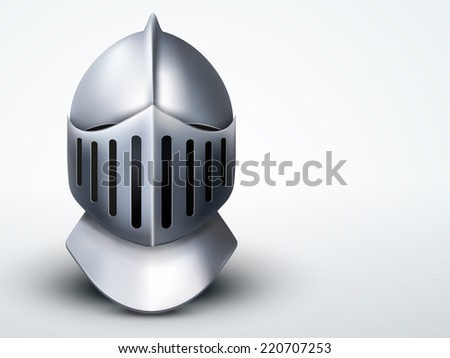 Light Background Crusader Metallic Knight's Helmet. Retro style. - stock photo