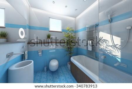 Light Bathroom Blue White Tile 3d Rendering - stock photo