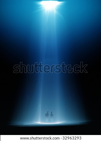 light beam from above - stock photo