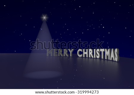 Light beam shaped Christmas tree and Merry Christmas text on the starry sky background. - stock photo