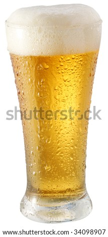 Light beer in glass on a white background - stock photo