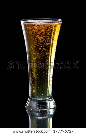 light beer isolated on a black background served in a chill tall glass - stock photo