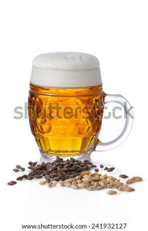 Light beer with foam in a circle on white background with barley and malt - stock photo