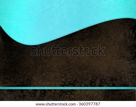 light blue background with abstract curved black sponged layer in wavy design with blue stripe on bottom border, artsy report cover or poster design with copyspace - stock photo