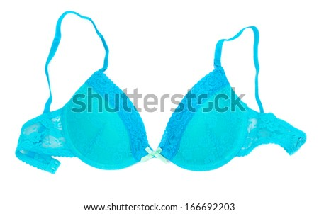 Light blue cute delicate lacework bra isolated on white background. - stock photo