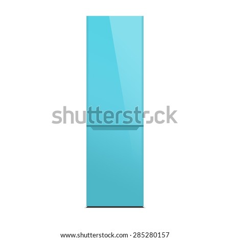 Light blue modern refrigerator, colorful design, isolated on white - stock photo