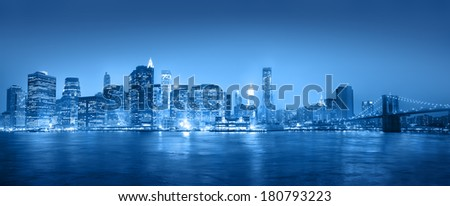 Light Blue Panaroma of New York City - stock photo