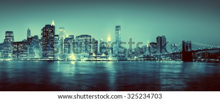 Light Blue Panoroma Of New York City Concept - stock photo