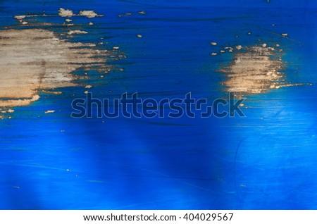 Light blue peeling paint on the old grunge steel surface - textured background - stock photo