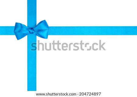 light blue ribbon bow for packaging, white background - stock photo