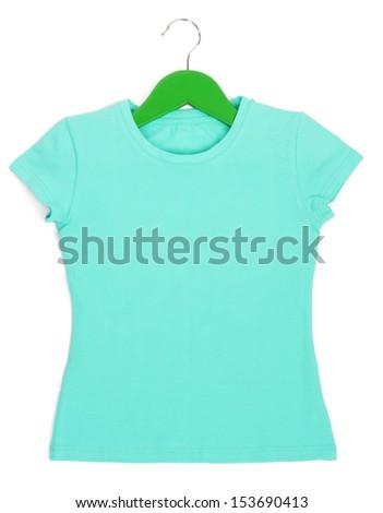 Light blue t-shirt on hanger isolated on white - stock photo