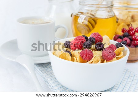 Light breakfast consisting of cornflakes with different berries, honey and cup of coffee - stock photo