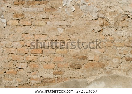 Light brown; Brick Wall; Brick; Wall - stock photo