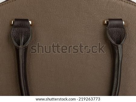 Light brown leather female purse closeup - stock photo