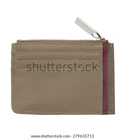 light brown leather wallet isolated  - stock photo