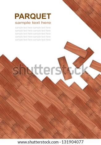light brown parquet laid diagonally - stock photo