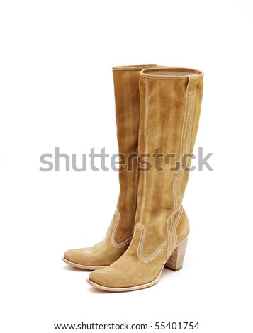 light brown suede woman boots - stock photo